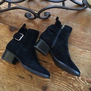Via Spiga Black Suede Buckle Boots